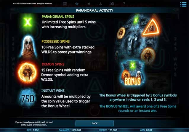Paranormal Activity Slot Bonus