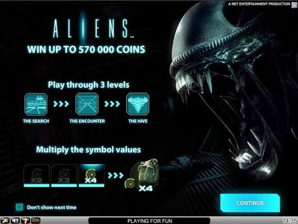 Aliens slot paytable