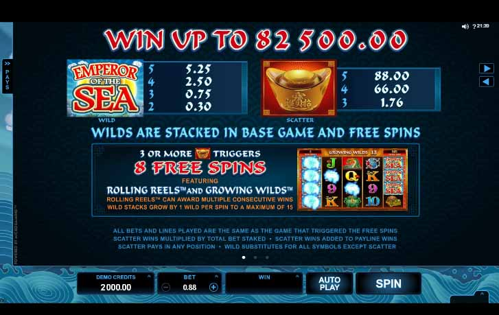 Emperor of the Sea slot Bonus